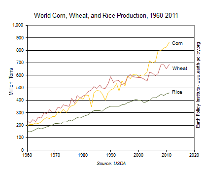 Graph of corn, wheat and rice production in million tons from 1960 through 2011, which shows a dramatic increase in corn yield, but curbed rates in the other two.