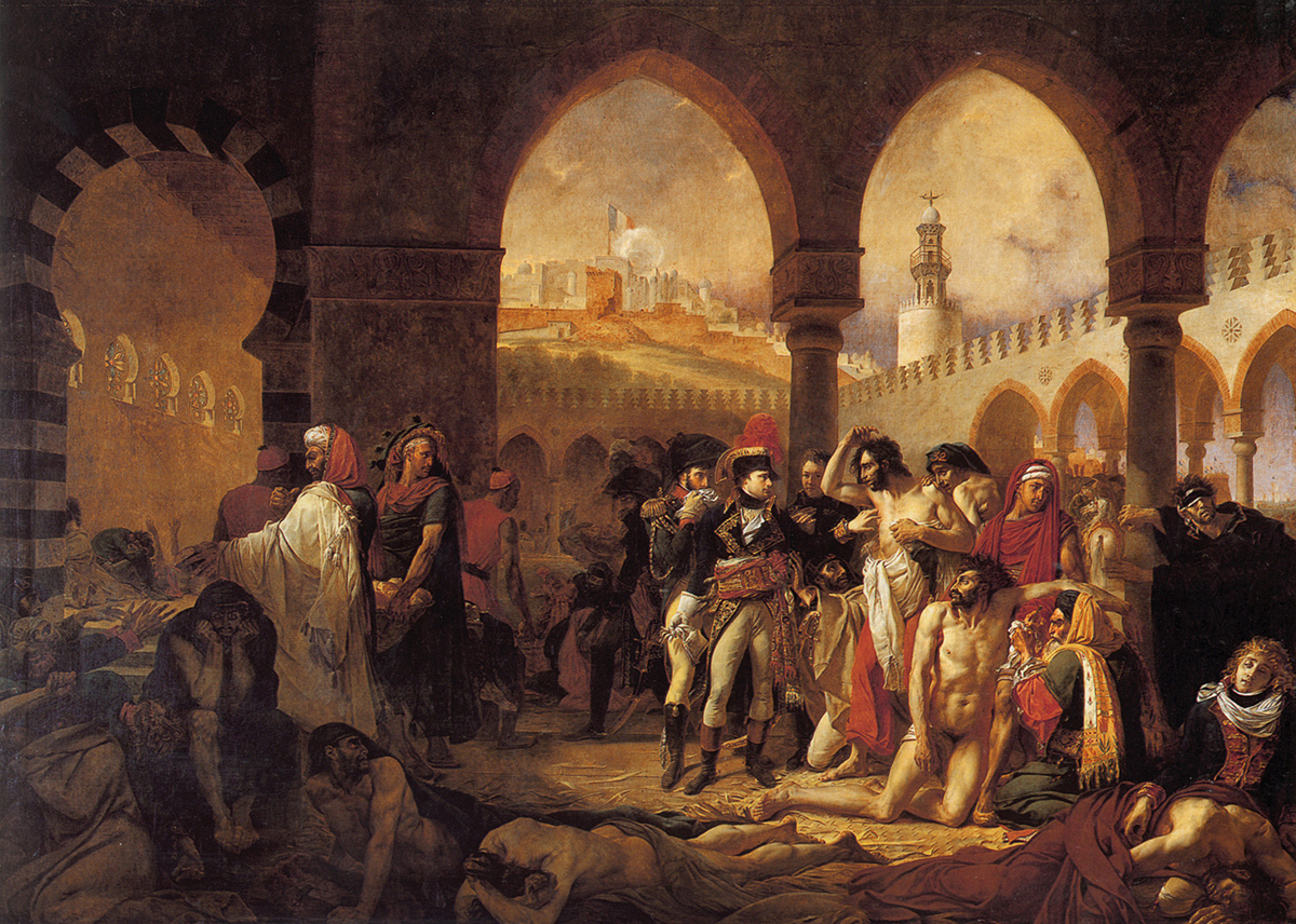 1804 painting of Napoleon visiting his plague-infected soldiers after a battle; hospital is in a mosque.