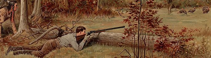 A prone man aims shotgun, resting on log, at 3 turkeys; an Indian guide crouches behind him