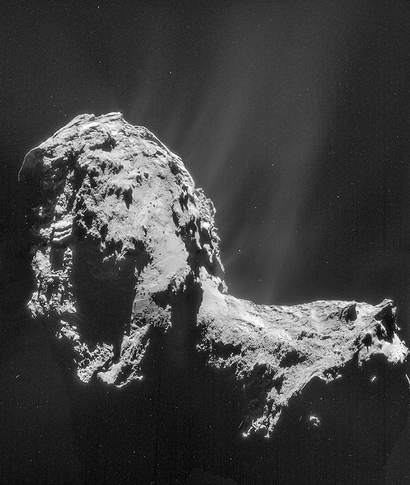 Full view of comet 67P before it was boarded by the lander shows the two large lobes that make up the Manhattan-sized space rock.