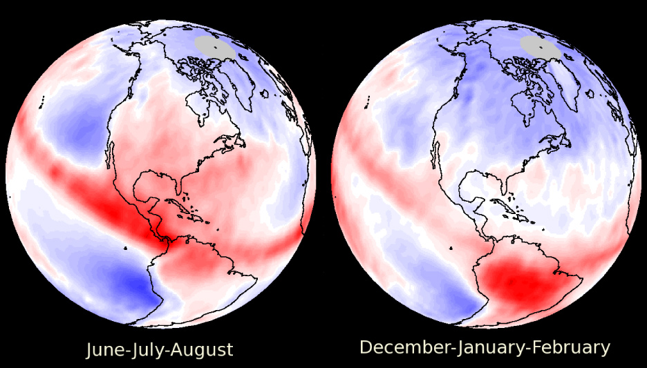 Two images of the western Hemisphere showing red over much of North America during summer, indicating warming clouds, then blue during winter, indicating cooling. The tropics are red despite the seasonal difference, and so is South America, except for a shift to blue over the Andes during Southern Hemisphere winter.