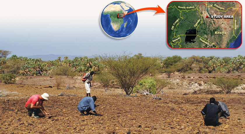 Satellite image of the study site in Kenya with an inlayed photo of researchers crouching and inspecting a field site ripe with fossil remains.