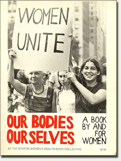 An old book advertisement with an image of women holding a painted sign that reads, 'Women Unite.'