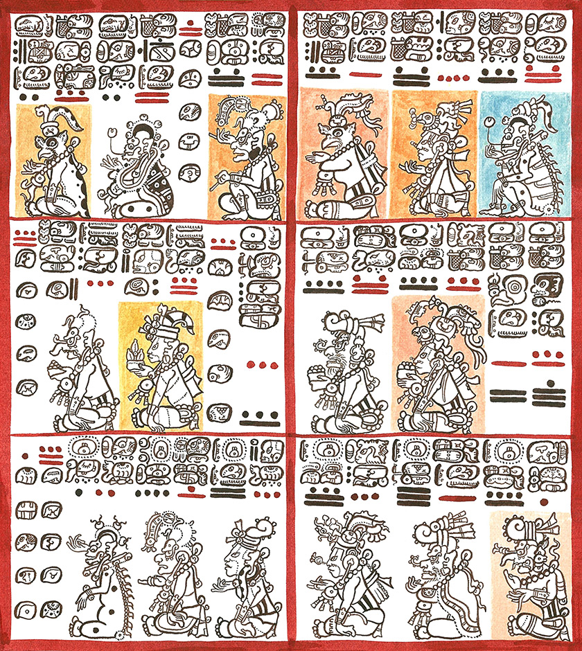 Illustration of an ancient Maya text explaining a period of the civilization's history and culture.