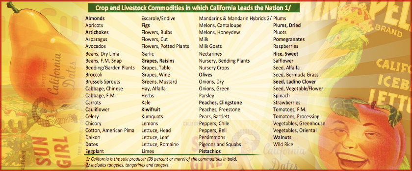 2012 chart shows California producing 99% of certain fruits in U.S., with many others produced in Calif as well