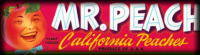 Mr. Peach brand peaches fruit label, product of Cutler, California