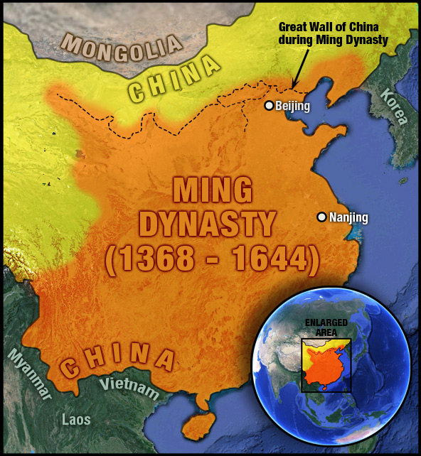 map of the Ming Dynasty with location on world map and surrounding modern-day country borders, along with Great Wall of China during Ming Dynasty years