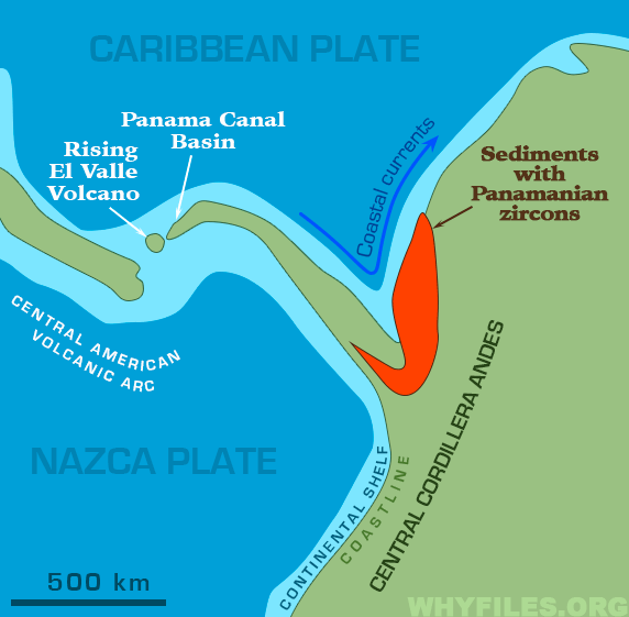 Paleogeographic map of the Panama Isthmus showing most of the Panama land bridge had formed above sea-level between 13 and 15 million years ago, and only a few shallow seaways may have been present.