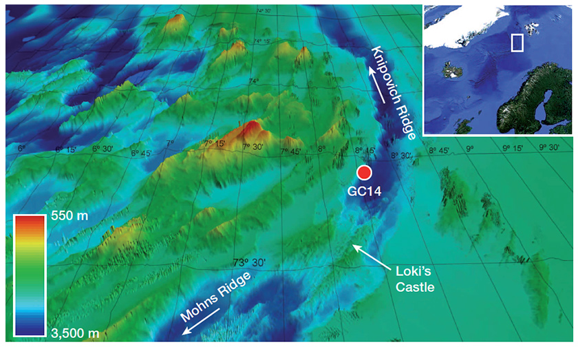 Locator map of the collection site in the open ocean northwest of Norway; the coring occurred in a trough next to a steep ocean ridge.