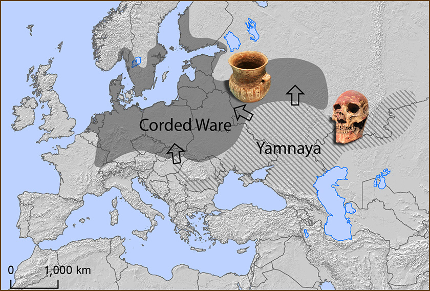 About 5,000 years ago, the Yamnaya people expanded from a region north of Caspian and Black Seas north and east toward northern Europe.