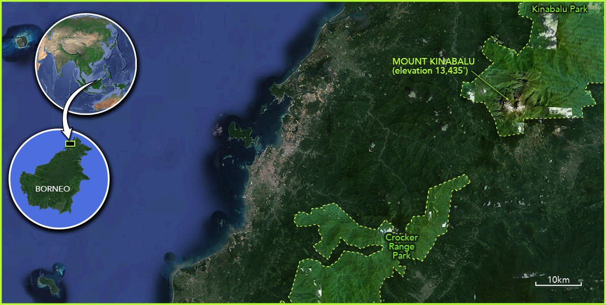 world map and inset within map of north western corner of Borneo with Mount Kinabalu highlighted